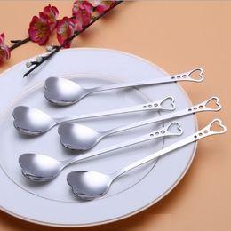 Wholesale Love Measuring Spoons - Lovers Heart Shaped Love coffee tea measuring Spoon Wedding lover Favors stainless steel dinner tableware 2 in1 coffee Spoon 200pc h51