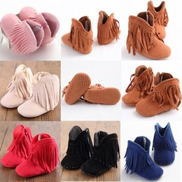 Wholesale 1year Baby Girls Shoes - Wholesale- Newborn Baby Girl Boy Kids Prewalker Tassel Solid Fringe Shoes Infant Toddler Soft Soled Anti-slip Boots Booties 0-1Year