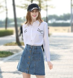 Wholesale Cheap Womens Blouses Shirts - Casual button down shirts white lapel neck embroidery shirt cheap cotton shirt womens white blouse long sleeve