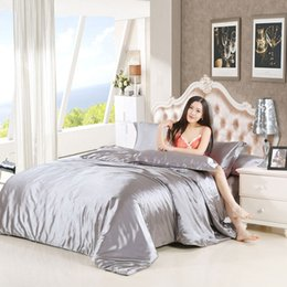 Wholesale Silk Comforter Brown - muchun Brand Soft Bedding Sets Solid Silk 4 pcs Comforter Duvet Cover Fitted Sheet Dropping Shipping Home Textiles