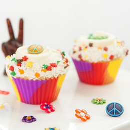Wholesale Cupcakes Liners Wholesale - Camo Silicone Cupcake Liners 7cm Camouflage Colorful Muffin Cups Round Shaped Cake Baking Molds Jelly Mold OOA2272