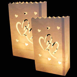 Wholesale Candle Bag Lanterns - 20Pcs lot Double Heart Tea light Holder Luminaria Paper Lantern Candle Bag For Christmas Party Wedding Decoration Products HWD16