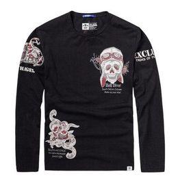 Wholesale Cheap Men Clothes Plus Sizes - Cheap Men's Plus Size T-shirts 2017 Spring Man 3D Print Tees Men Full Sleeve Tshirt Tops Men Hip Hop Clothing Size XL-6XL A013