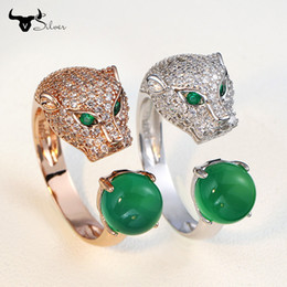 Wholesale Leopard Agate - men women ring leopard car tier style ring 925 silver green agate stone wedding diamond anniversary ring fashion accessories