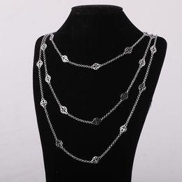 2019 rosario di cristallo bianco Ciondoli di ornamento in ottone di marca materiale in tre strati collana lunga placcato oro e argento 68cm / 77cm / 88cm lunghezza Donna j