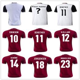 Wholesale Soccer 12 - Customize Denmark Soccer Jerseys Uniforms 10 ERIKSEN 11 BRNDTNER 12 BJELLAND 14 SCHONE 23 MIKKELSEN 18 JORGENSEN 4 AGGER Football Shirt Kit