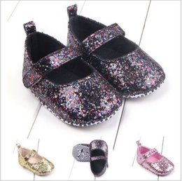 Wholesale Newborn Fabric - 0-18 Months Newborn Baby Girl Shoes Bling Crib Shoes Prewalker Cute Soft Sole