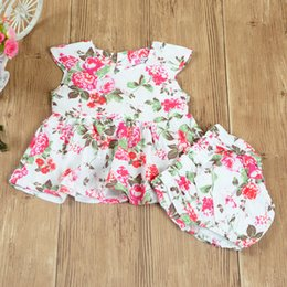 Wholesale Wholesale Flowers Girl S Dresses - INS Princess Sets Flower Baby Girls Summer Sets Sleeveless Cotton Floral Dress Shirt Tops + Brief pants 2pcs Set Suits For Girl A7592