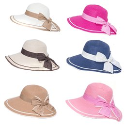 Wholesale Straw Hat Womens Fashion - Womens floppy summer beach sun striped straw hat wide edge outdoor folding two lap bow big bowl cap tie fashion hat