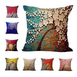Wholesale Chair Covers Linens - 20 Colors 45*45cm Colorful Painting Trees Flowers Linen Printed Throw Pillow Case Cushion Cover For Office Chair Decorative Fashion Sets