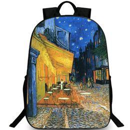 Wholesale Van Gogh Night Cafe - The Cafe Terrace on Place du Forum backpack Van Gogh daypack Arles at night schoolbag Leisure rucksack Sport school bag Outdoor day pack