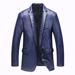 Wholesale Blue Leather Jackets - Blazer Leather Jackets for Men PU Blazer Slim Fit Blue Black Camel Slim Pu Leather Suit Jackets Men's Waterproof Blazer Coats