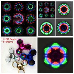 Wholesale Camo Blue - Fidget Spinners Chrome Camo LED Fidget Spinner 11 LED Beads 18 Patterns Replaceable Battery Luminous Fingertips Metal Color Hand Spinner
