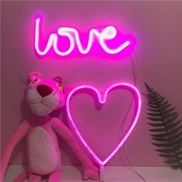 Wholesale Alphabet Boards - ZXL42 Neon alphabet light LED Display board Coloured Flash Wall decoration lamp Pink Heart Love Romantic atmosphere