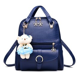 Wholesale Little Girls Summer Bags - Shoulder bag 2017 new tide female backpack spring and summer new students fashion women girls casual cute little bear bags
