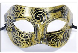 Wholesale Christmas Flat Back Resins - Best gift Halloween Gold Silver Bronze Mask Men Half Face Flat Carved Mask PH021 mix order as your needs