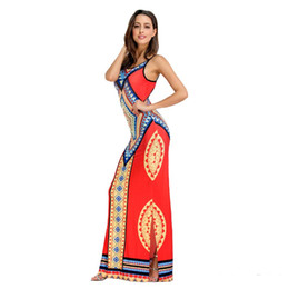 Wholesale Sexy Open Back Maxi Dresses - 2017 New African Print Spaghetti Strap Long Maxi Party Dresses Casual Summer Women Boho Sexy Hot Open Back Split Red White