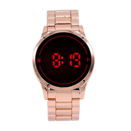 Wholesale New Hot Electronic - free drop shipping newest hot sale fashion red blue light LED digital Men alloy electronic watch stainless steel belt wristwatch