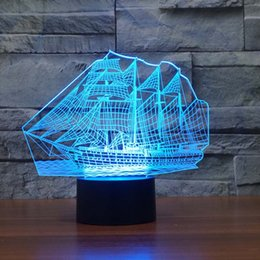 Wholesale Boat Vessels - Wholesale- 3D Sailing Boat Vessel Night light For Childrens Room 7 Color Changing Led Lights for Home Decor