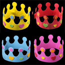 Прохладный партия DIY Ева Корона Cap детский День Рождения производительность шоу Hat украшения Дети день рождения DIY Hat 6 цветов cheap hat eva от Поставщики hat eva