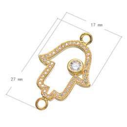 Wholesale Hamsa Connector Charms - Wholesale- New Jewelry Findings Hamsa Connectors Gold Plated Micro Pave Zircon Metal Connector Fit For Bracelets Making