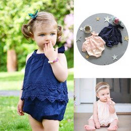 Wholesale Hot Pink Neck Tie - Ins Hot Toddler Baby Girls Cotton Suspenders Rompers Lace Flower Emboridery Jumpsuit 3 Colors Elastic Tie-wrap Collar Rompers 13050