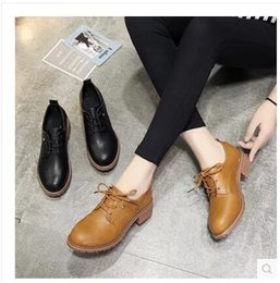 Wholesale Small Heels Women Shoes - 2018 spring and autumn new female small shoes Korean version with lace student shoes shoes woman size 35-39