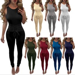 Wholesale Ladies Cotton Long Tunics - Ladies Casual Slim Tunic Tight Lace Up Round Neck Sleeveless Bodycon Long Romper Womens Pullover Backless Playsuit Jumpsuit Trouser