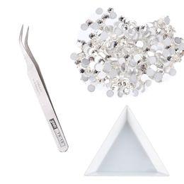 Wholesale Art Diamante - Wholesale- 20,000pcs 2.0mm Silver Round RhinestonesNail Art Diamante Curved TweezerTriangular Drill Plate Nail Art Decorations SKU:XF0169