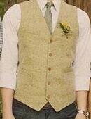 Colete de lã amarela on-line-2019 Único Colete De Tweed De Lã Amarelo Do Vintage Dos Homens Terno Coletes Estilo Britânico Groom Vest Slim Fit Noivo Vestir Casamento Colete Mens Vestidos