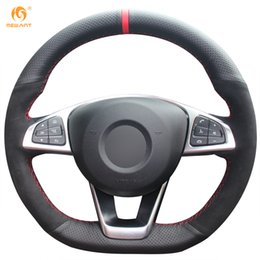 Wholesale Mercedes Wheel Covers - Mewant Black Genuine Leather Black Suede Car Steering Wheel Cover for Mercedes-Benz C200 C250 C300 B250 B260 A200 A250 Sport CLA220