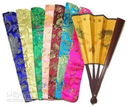 Wholesale Chinese Color Bags - Unique Tassel Hand Fan Pouch Silk brocade Floral Bag Chinese Coin Packaging Cover 20pcs lot mix color Free shipping