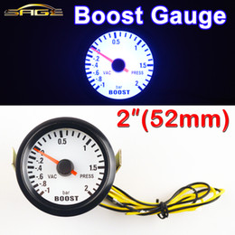 "Wholesale Press Boost - Wholesale-Car Gauge 2"" 52mm Bar Turbo Boost Gauge -1~2 Bar Vacuum Press Meter for Auto Blue Light Black Rim Shell 12V"