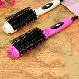Wholesale Rotating Iron Straightener - tyling Tools Straightening Irons 2-In-1 Comb Hair straightener Brush&Curling Flat Iron Multifunctional Rotating Fast Electric Straigh...