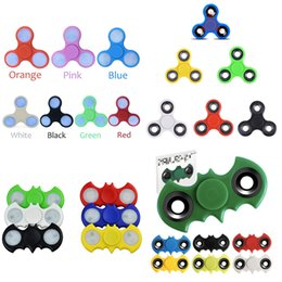 Wholesale Wholesale Fingertip Lights - LED Hand Spinner plastic LED Fidget Spinner Finger Fingertip Gyro Tri-Spinner Handspinner Fidget Toys EDC Decompression Toy