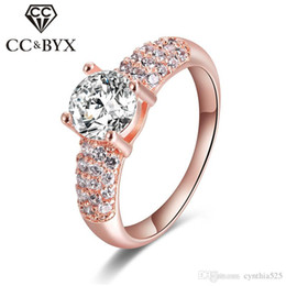 Wholesale Wholesale White Gold Ring Settings - CC Fashion Jewelry Midi Rings wholesale 925 Sterling Silver&rose gold 2ct Simulated Diamond Engagement Wedding Rings for Women CC024