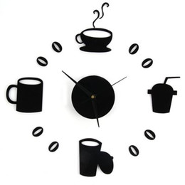 Wholesale Coffee Cup Clocks - Wholesale- DIY Home Decor Large Coffee Cup Kitchen Wall Clocks Watch Decals free shipping
