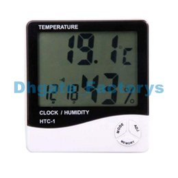 Wholesale Temp Humidity - LCD Thermometer Hygrometer Temp Humidity Clock HTC-1 Hygrometers Clockes 1000pcs lot fast shipment by Fedex DHL DHFTY-098