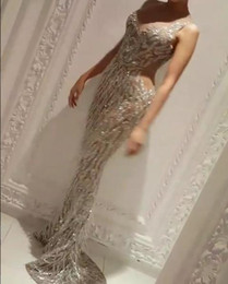 Wholesale Dress Zoe - Evening dresses 2017 Yousef aljasmi Zuhair murad Labourjoisie Charbel zoe Silver Mermaid Long dress Off shoulder Tassels Crystals