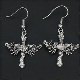 Wholesale Fly Charm - 5pairs lot new arrival crystal biker style earrings 316L stainless steel fashion jewelry unisex motorbiker flying eagle earrings