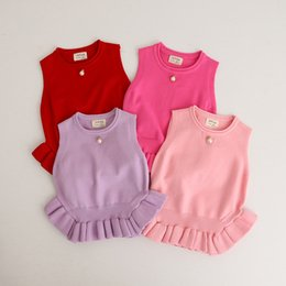 Wholesale Baby Knitting Vests - INS 4 color 2017 Europe and America Style new arrival Autumn and winter baby girl solid color Cotton Knitting sweater vest baby Keep warm