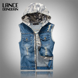 Wholesale Men Sleeveless Jean - Wholesale- Mens Denim Jean Vests with Hooded Ripped Washed Vintage Blue Zipper Closure Sleeveless Jacket