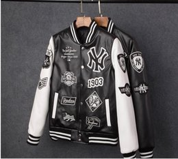 Wholesale Mens Pu Jackets - MLB Men jackets Brand Caual Mens new york yankees pu coat Fashion Hip Hopembroidery baseball jacket Sweatshirts