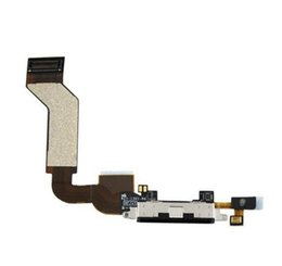 Wholesale Iphone 4s Usb Dock Connector - For iPhone 4 4S 4G CDMA GSM USB Charger Charging Port Dock Connector Flex Cable Black White Color