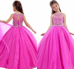 Wholesale Light Pink Girl Pagent Dress - Rose Tulle Flower Girl Dresses 2016 Sheer Scoop Beads Crystals Floor Length Child Pagent Dress Girls First Commuion Gowns
