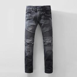 Wholesale Pleated Skinny Pants - 2017 Men's Stylish Biker Slim Fit Straight Leg Stretch Brand Design Biker Jeans Pants With Broken Holes