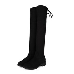 Wholesale Knee Length High Heels Boots - Women black over knee length boots lady sexy chunky heel elastic boots big size wedding shoes party shoes free shipping