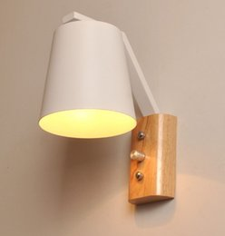 Wholesale Wood Bedside Lamps Bedroom - wood art wall lamps creative modern minimalist bedroom bedside balcony aisle real wood wall lamp Aisle Lamp commercial lighting LLFA