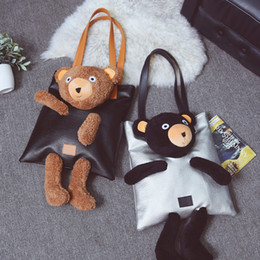 Wholesale Zipper Teddy - New arrival! Wholesale cute teddy bear large shoulder bag woman leather handbags girls fashion tote bags