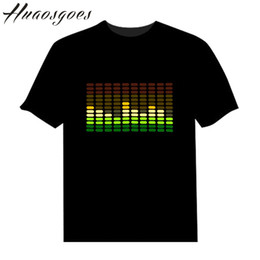 Wholesale Music Party Equalizer Led - Wholesale- Sale Sound Activated LED Tshirt Light Up and down Flashing Equalizer music activated ELT-Shirt Unisex for Rock Disco Party DJ